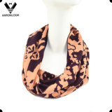 Lady′s Soft Acrylic Fashion Jacquard Flower Pattern Snood Scarf
