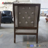 Orizeal New Design Solid Oak Frame Tufted Upholstered Fabric Chair for Antique Style Living Room (OZ-DC-006)