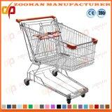 Wire Metal Chrome Zinc Wheeled Grocery Shopping Cart Trolley (Zht159)