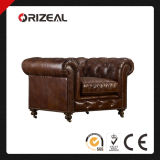 Orizeal Chesterfield Kensington Genuine Leather Chair (OZ-LS-2028)