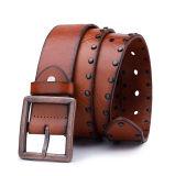2017 Fashion Design Mens Vintage Rivets Brown Leather Belts