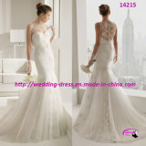 2015 Newest White Trumpet Wedding Bridal Dress with Full Lace
