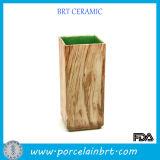 Wooden Grain Porcelain Square Vase