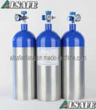 Green/Blue Neck, Silver Body Medical D Size O2 Cylinder