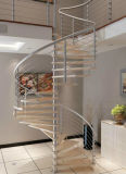 Interior Glass Spiral Staircase with Stainless Steel Railing and Antislip Tread