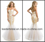 Gold Lining White Lace Evening Dress Mermaid Fashion Prom Gown Ld11558