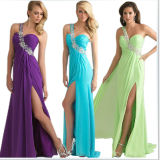 One Shoulder Chiffon Long Discount Prom Dresses (DS011)