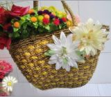 Natural Straw Bags Flower Decorate Bag (T843)