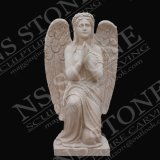 Light Beige Marble Angel Sculpture in Natural Stone