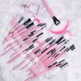 32 PCS Synthetic Foundation Powder Concealers Eye Shadows Pink Makeup Brush Sets