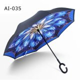 Customized Inverted Reverse C Handle Handfree Cars Umbrella for Promotional Gift