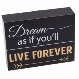 2017 New Design Black Wooden Block with Words for Desk/Table