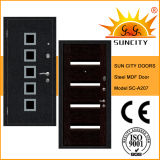 MDF Panel Steel Wood Armored Door with Aluminum Strips (SC-A207)