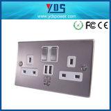 5V 2.1A UK Chrome Dual USB Wall Socket with Switch