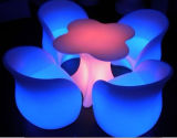 Modern Style Plastic Outdoor Color Changing RGB LED Plum Blossom Coffee Table Set