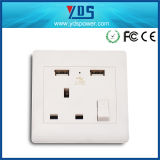 3 Pin British electric Socket, UK Wall Electric USB Socket Outlet