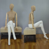 Fabric Wrapped Sitting Female Mannequin with Wood Arm