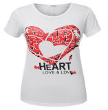 China Manufacturer Popular Heart Screen Printing Women′s Tee Shirt