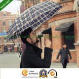 Aluminium Mini Slim Three Folding Umbrella with Checks Design (FU-3821A)