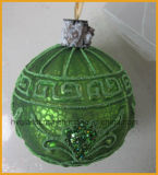 Green Color Christmas Glass Ball (round, olive shape)
