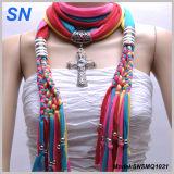 Muliti Colored Fashion Pendant Scarf with Jewelry (SNSMQ1031)