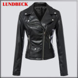 Hot Sell Black PU Jacket for Women Winter Outer Wear