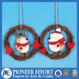Wooden Christmas Hedgehog and Bear Design for Hanging Ornament