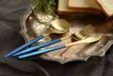 Matte Polish Luxury Gold Plated Blue Handle Stainless Steel Dinner Cutlery Set