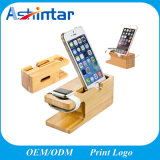 Wooden Phone Holder for iPhone Charging Dock Desktop Bracket for Iwatch Stand Holder