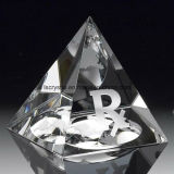 3D Laser Engraving Crystal Glass Pyramid Award Trophy for Craft