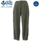 Green Loose Rayon Sports Button Plaid Leisure Trousers