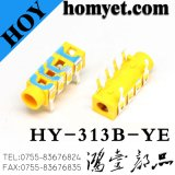 3.5mm 6pin Stereo Audio Jack Colorful DIP Phone Jack (HY-313B-YE)