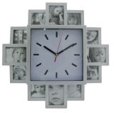 Plastic Analog Wall Clock with Multi Photo Frame