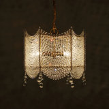 Square Clear Crystal Chandelier Lighting French Pendant Lamp for Girls Room, Bedroom