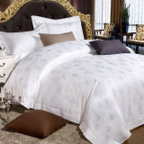 60s Cotton White Jacquard Bedding Set for Star Hotel (DPFB8099)