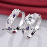 Purple Leaf Design Bridal Ring Set - 40