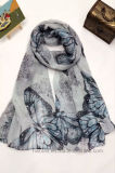 Fashion Butterfly Printed Polyester Beach Scarf for Lady (HP05)
