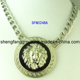 Manera Jewelry Round Alloy con Lion Head Design Pendant Necklace (SFN0248A, SFN0129A)
