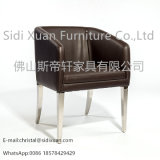 China Supplier High Gloss Leather Stainless Steel Frame Dining Chair for Hotel Home Furniture