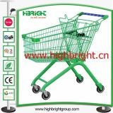 Metal Plastic Powder Coating Shopping Carts with Travelator Castors