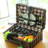 Customized Willow Picnic Basket with Leather Handle and Natural Color