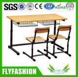 Newest Student Study Classroom Double Adjustable Desk with Chair