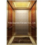 Gearless Passenger Elevator with Marble Floor, Golden Mirror Stainless Steel