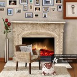 Arch Style Natural Beige Travertine Fireplace