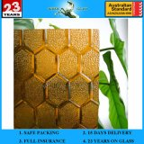 3-8mm Amber Flora Patterned Glass with AS/NZS2208: 1996