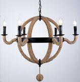 Retro/Vintage Edison Style Hemp Rope Iron Pendant Lamp Chandelier (GD1216-6)