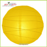 Yellow Irregular Ribbed Paper Lantern