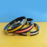 Hot Sell Cool Metal Clip Silicone Bracelet