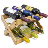 Can Fold 6 Bottle Bamboo Wine Rack