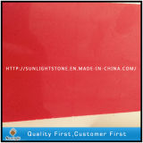 Pure Red Artificial Quartz Stone for Kitchen Countertop Slab